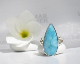 Larimar ring size 6.75 by Larimarandsilver, Turquoise Tides - azure Larimar pear, turtleback turquoise ring blue drop handmade Larimar ring