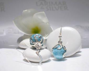 Octopus Larimar earrings from Larimarandsilver, Octopus Pearls 2 - azure Larimar pearls, denim blue beads, turtleback, blue pearls earrings