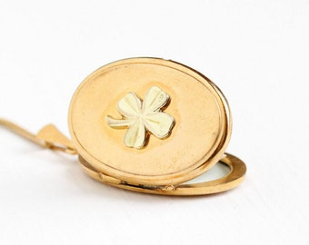 Sale - Vintage Gold Plated Four Leaf Clover Locket Necklace - 1940s WWII Germany Oval Pendant Shamrock Good Luck Gold Tone Photo Jewelry