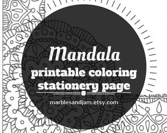 Mandala coloring stationery page, printable unlined stationery