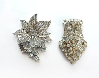 Two Broken Rhinestone Dress Clips for Re-Purposing, Upcycling