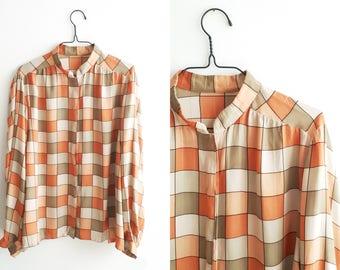 Vintage Checkered Silk Bouse - 1980