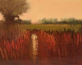 Postcard 3 - Landscape oil painting, trees, fens.
