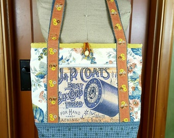 Handcrafted Tote / Market Bag, Vintage Fabrics and Trims, Canvas Lining, Pockets, Crocheted Loop Closure with Vintage Buttons, Granny Chic