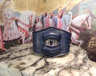 Single Wrist Cuff-Medium(Blue leather with Gold eye)