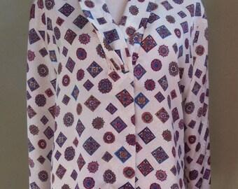 "Vintage Worthington Long Sleeved Oatmeal Colored Blouse Geometric Print and Draped Neckline Bust 45"" Waist 44"""