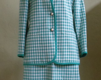 "Vintage 80's Haberdashery a Leslie Fay Company Green & White Plaid Skirt Suit Plus Solid Green Skirt Bust 41"" Waist 33-34"""