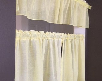Yellow sheer Cafe Curtains set of 2 panels and 2 valances 1960's soft yellow curtains rod style with top ruffle sheer with linen like flubs
