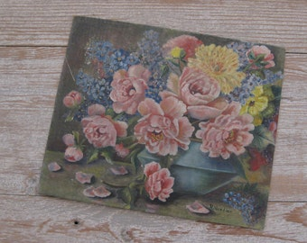 SALE! Now 45.00! Vintage oil painting, floral, flowers, pink roses, forget-me-nots, Shabby Chic, French, cottage decor, signed