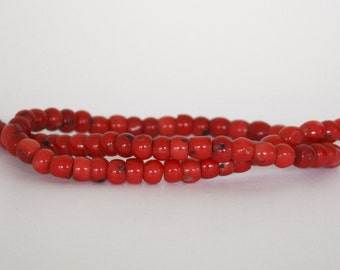 Natural Red Coral Beads, qty 140, 7mm