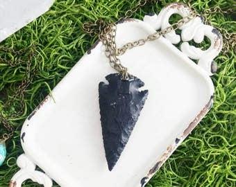 Black Arrowhead Necklace Arrowhead Brass Necklace  Large Arrowhead Necklace