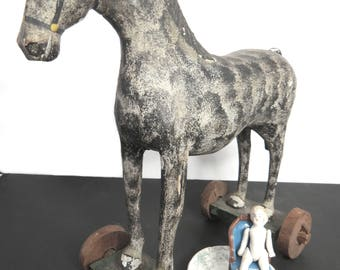 Antique Wooden Horse on Wheels, Dapple Gray Pull Toy, Primitive Americana Folk Art, Hand Carved, Early 1900s