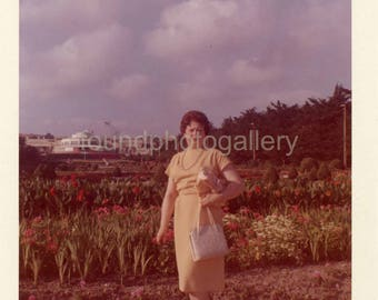 Vintage Photo, Chic Fashionable Woman in Estoril Garden and Casino, Portugal, Color Photo, Travel Photo, Vacation Photo, Old Photo