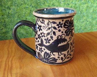 Monsters in the Garden Mug - stoneware coffee cup funny gift