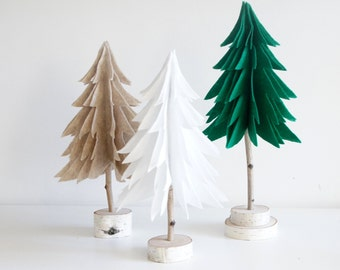 miniature winter forest - felt tree, tabletop decor, birch decor, dollhouse, winter scenery, fir trees, pine trees, modern rustic