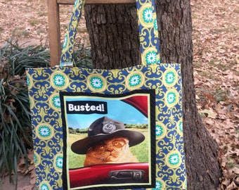Cat Bag , Cat Tote, Busted! , Shopping Bag, Gift