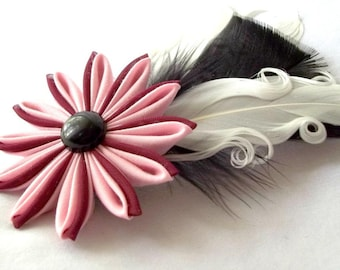 Carnivale Feather Fascinator Pink Burgundy Black White Kanzashi Flower