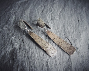 Rough and Tumble -- Sterling Silver Dangle Drop Earrings -- Antiqued Handmade Artisan Ready To Ship