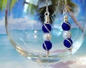 Cobalt blue seaglass white pearl wire wrapped earrings, peapod style earrings, sea glass earrings, tumbled glass beach coastal gifts