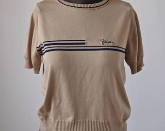 Givenchy Knit Top 70's Tan and Navy Blouse Logo Short sleeve
