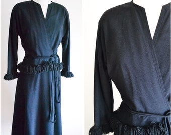 1940s Black wool fringed day dress / 40s wrap winter dress - S