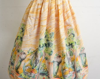 1950s style Novelty cottage print pleated skirt / yellow 70s does 50s border print day skirt - XS S