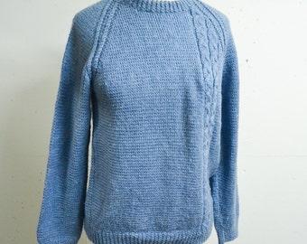 Nicoll blue handknitted wool sweater / 1980s crew neck duck egg hand knitted jumper