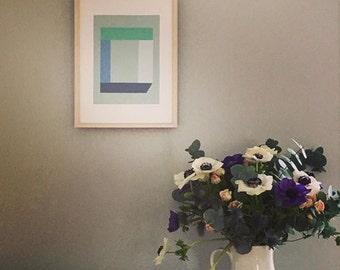 Gift for him, geometric silkscreen print, abstract minimal, grey, blue by Emma Lawrenson