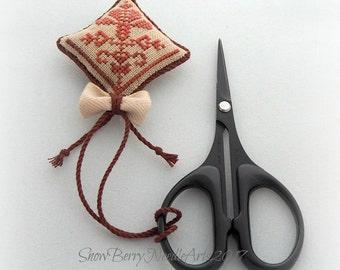 Quaker Flower Cross Stitch Scissor Fob