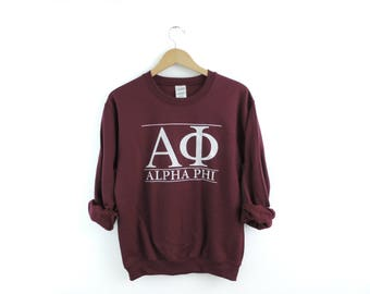 New Alpha Phi Maroon Stripe Crewneck Sweatshirt // Size S-3XL // You Pick Color