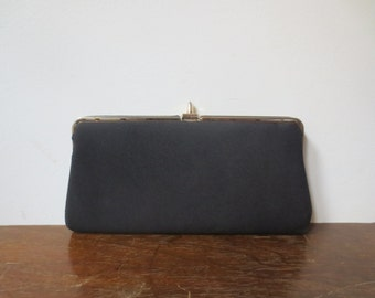 Classic Vintage '60s Black Cloth Clutch w/ Pointy Brass Closure!
