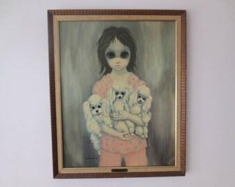 """Vintage '60s 1963 Margaret Keane / Walter Keane """"Bedtime"""" Original Framed Print w/ Gold Plaque, 26.5 x 21.5"""