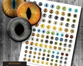 Realistic Cat Eyes - Digital Collage Sheets - Printable Cat Eyes - 20mm 25mm 30mm Included - Multiple Sizes