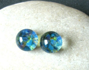 Ocean Aquarium Cabochon Set - 9mm Lampwork Glass - Jewelry Making Supply