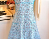 Old Fashioned 1940s Style Full Apron in Coral and Aqua Floral MADE TO ORDER