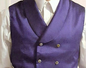 Mens Victorian Vest Steampunk Double Breasted Waistcoat with Rounded Collar