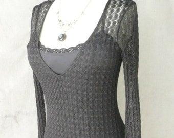 Vintage Betsy Johnson Black KNit Lace Slinky Dress