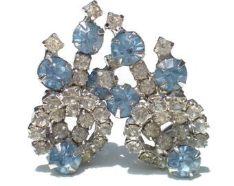 Light Blue Rhinestone Clip Earrings on Silver Tone Metal - Formal Vintage Jewelry