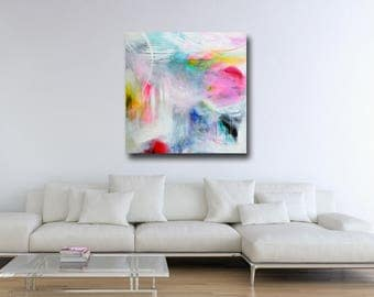 Large Wall Art, Canvas Art, Purple and Blue Abstract Painting, Large Giclee Print, Canvas Wall Art, Modern Artwork, Expressive Abstract Art