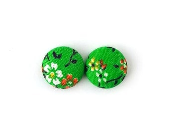 Green fabric earrings - bright green fabric earrings - floral stud earrings - yellow orange white spring flower