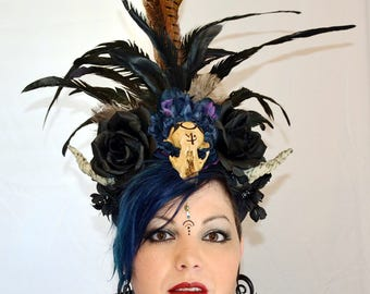 Black Headdress, Goth Headdress, Skull Headdress, Horned Headdress, Burning Man Headpiece, Festival Headdress, High Priestess, Headdress
