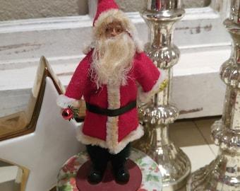 vtg cotton Spun Santa figure Christmas Box doll