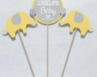 3 Yellow and Grey Welcome Baby Elephant Centerpiece Sticks Elephant Baby Shower Table Decoration Elephant Diaper Cake Decor READY TO SHiP
