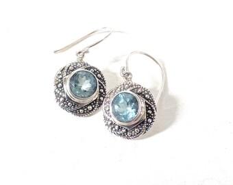 Blue earrings, Blue topaz earrings, gift for mom, blue gemstone earrings, aquamarine earrings, march birthstone earrings, Blue Mom gift