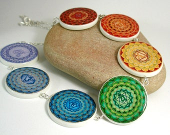 Seven Chakra Levels, Polymer Clay Necklace, Made to Order