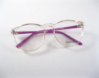 Circular eyeglasses frames. Clear purple plastic oversized 80s 90s new old stock / deadstock / NOS. no lenses.