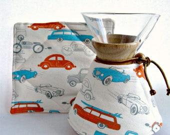 Chemex Cozy and Warming Pad Set- 3 -6- 8-10 Cup Sizes-Retro Rides-Tangerine Gray Aqua Kitchen decor Gift for him
