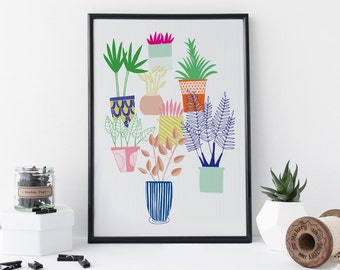 Houseplants Print, Botanical Art, Plants, Art, Home Decor - 8 x 11 Print