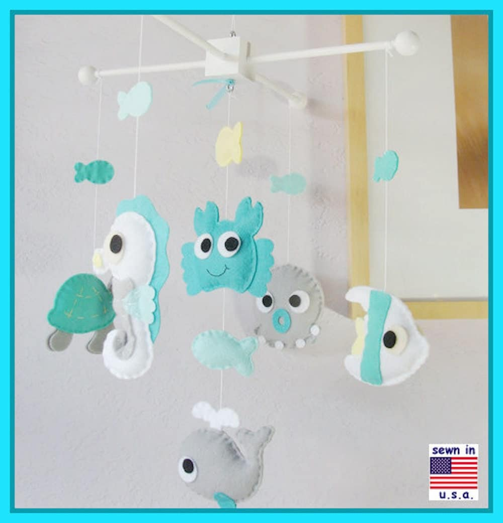 Under the sea mobile baby mobile sea animals nursery mobile for Sea animal baby mobile
