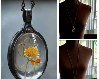 Dry Pressed Flowers, Flower Jewelry, Real Wildflower Necklace, Real Flowers, Dried Flowers, Cynthia, Real Flower Necklace, Flowers (2735b)